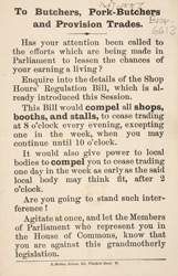 Political leaflet advertising the Shop Hours Regulation bill